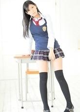 Saemi Shinohara is sexy schoolgirl in uniform and socks