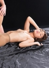 Horny beauty Shino Aoi gets her feet covered in fresh cum in a hot leg fetish scene